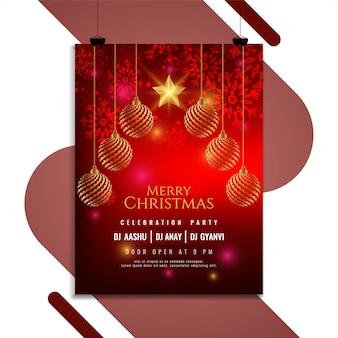 Diseño de folleto de invitación de fiesta de navidad feliz