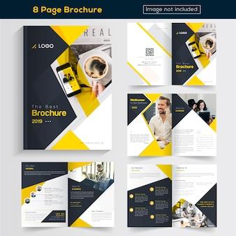 Diseño de folleto de negocios de 8 páginas amarillo