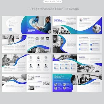 Diseño de folleto de paisaje de 16 páginas