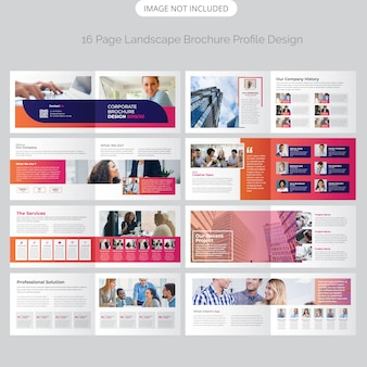Diseño de folleto de paisaje de página