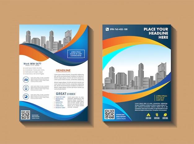 Diseño de folleto de portada moderna con fondo de ciudad