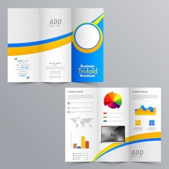 Diseño de folleto tri-fold empresarial con elementos infográficos estadísticos y espacio para sus imágenes.