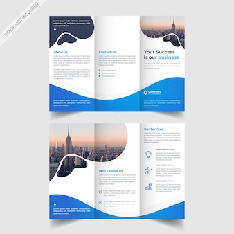 Diseño de folleto tríptico azul y oscuro para usos múltiples.