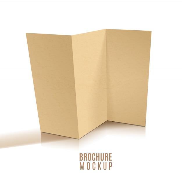 Diseño de folleto tríptico en blanco aislado.