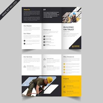 Diseño de folleto tríptico de construcción creativa o promoción de servicios de construcción.