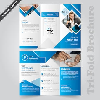 Diseño de folleto tríptico corporativo azul