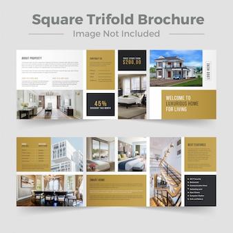 Diseño de folleto tríptico cuadrado de bienes raíces