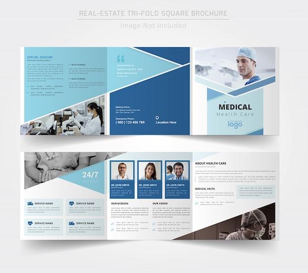 Diseño de folleto tríptico cuadrado médico