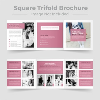 Diseño de folleto tríptico cuadrado de moda