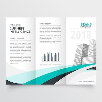 Diseño de folleto tríptico empresarial ondulado azul
