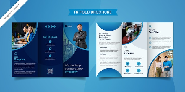 Diseño de folleto tríptico moderno.