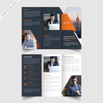 Diseño de folleto tríptico de negocios corporativos con fines promocionales de servicio.