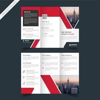 Diseño de folleto tríptico de servicio empresarial corporativo.