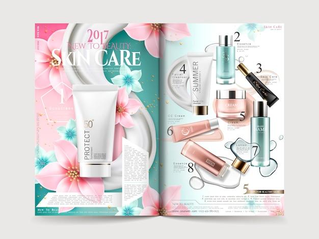 Diseño de folletos de cosmética con colecciones de productos y elegantes flores.