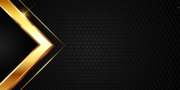 Diseño de fondo abstracto con forma metálica dorada
