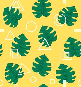 Diseño de fondo abstracto moderno estilo hipster geometría de patrones sin fisuras con hojas de palmeras tropicales, planta. de moda creativa.