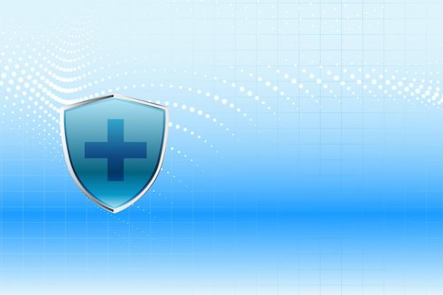 Diseño de fondo de atención médica de escudo de protección médica