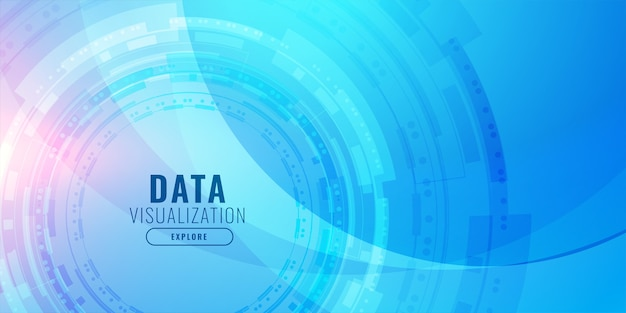 Diseño de fondo azul futurista de visualización de tecnología