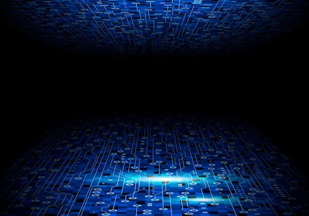 Diseño de fondo azul de la placa de circuito para tecnología digital