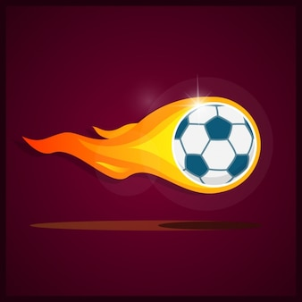 Diseño de fondo de balón de fútbol en llamas