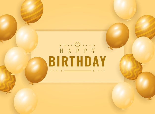 Diseño de fondo de banner de feliz cumpleaños con globo dorado