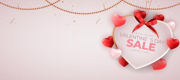 Diseño de fondo de banner de venta de san valentín