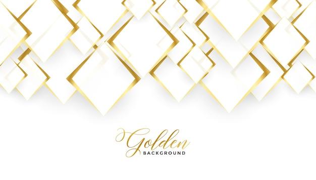 Diseño de fondo blanco y dorado de formas de diamante