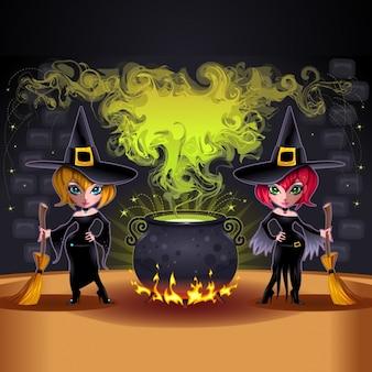 Diseño de fondo de brujas