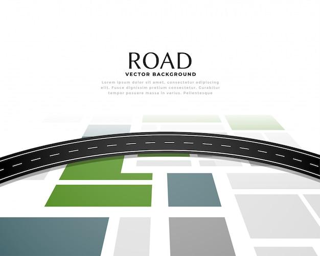 Diseño de fondo de camino de ruta de viaje de mapa de carreteras