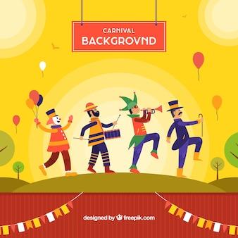 Diseño de fondo de carnaval con hombres bailando