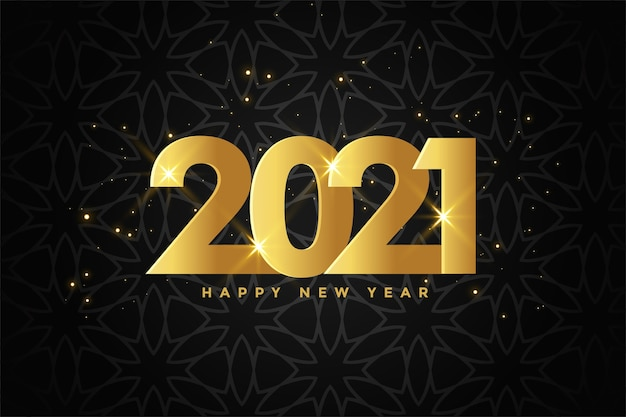 Diseño de fondo de celebración de feliz año nuevo dorado 2021