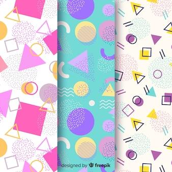 Diseño de fondo con colección de patrones de memphis