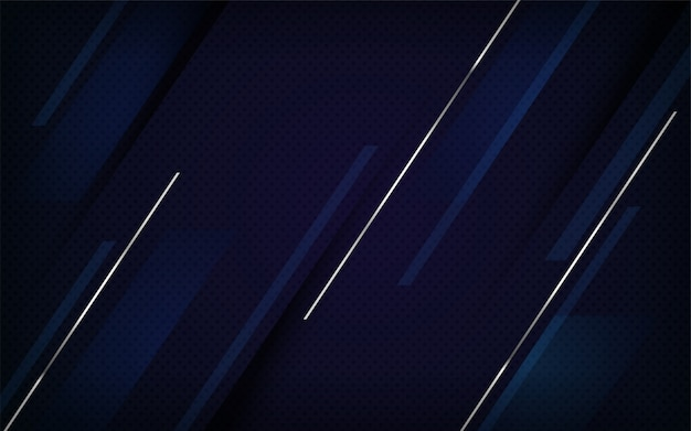 Diseño de fondo de combinaciones de líneas azul marino y plata de lujo.
