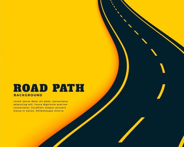 Diseño de fondo de concepto de camino de camino de curva sinuosa