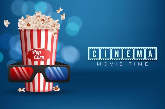 Diseño de fondo de concepto de cinematógrafo con palomitas de maíz y gafas 3d