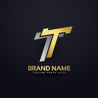 Diseño de fondo del concepto de letra t superior del logotipo