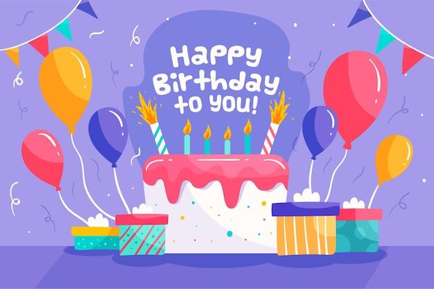 Diseño de fondo de cumpleaños dibujado a mano