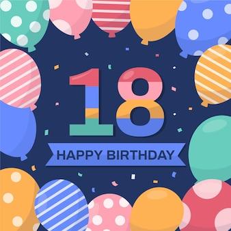 Diseño de fondo de cumpleaños número 18