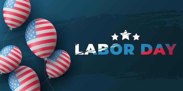Diseño de fondo del día del trabajo. globos de aire 3d con el patrón de la bandera de estados unidos y letras en estilo grunge sobre un fondo azul. plantilla de cartel de vacaciones de estados unidos. ilustración vectorial