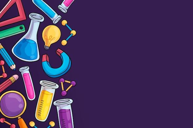 Diseño de fondo de educación científica dibujado a mano