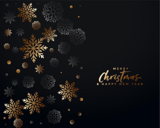 Diseño de fondo elegante feliz navidad negro y dorado