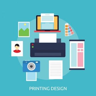 Diseño de fondo de elementos de impresión