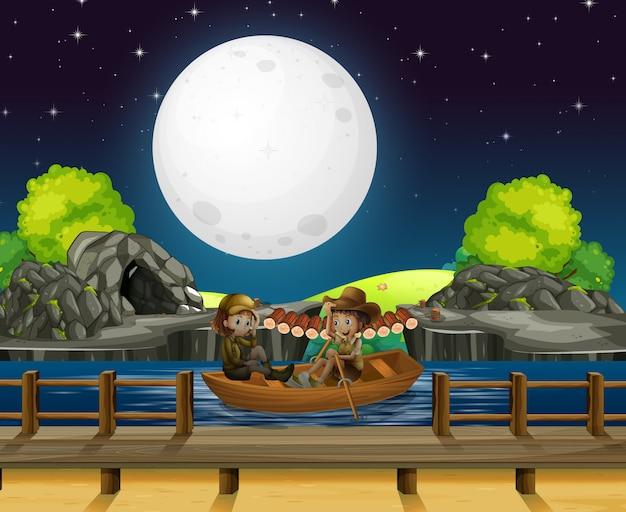 Diseño de fondo de escena con gente bote de remos en la noche