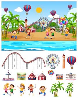 Diseño de fondo de escena con niños en el parque de atracciones junto a la playa