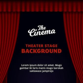 Diseño del fondo del escenario del teatro. ilustración de vector de cortina roja abierta.