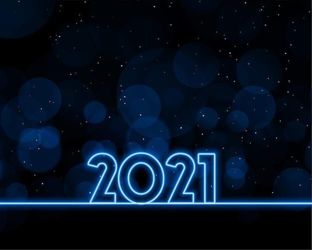 Diseño de fondo de estilo neón feliz año nuevo 2021
