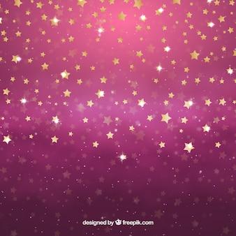 Diseño de fondo de estrellas brilloso rosa