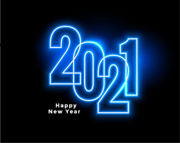 Diseño de fondo de feliz año nuevo azul estilo neón 2021