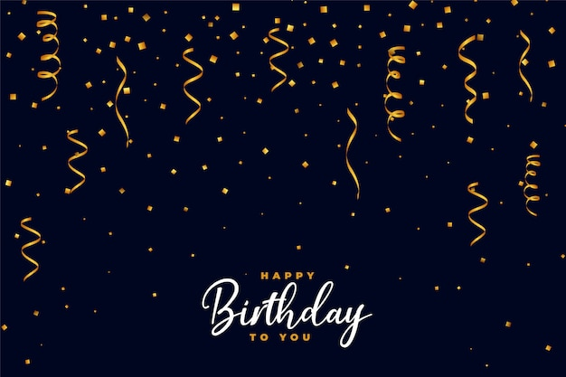 Diseño de fondo de feliz cumpleaños confeti dorado cayendo