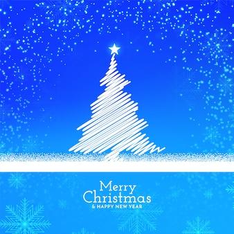 Diseño de fondo de feliz navidad brillante de color azul